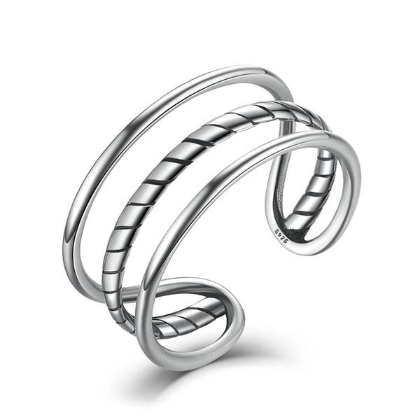 Anelli di fascia del polsino minimalista degli uomini registrabili dell'anello dell'argento sterlina 925 genuini delle donne anelli sottili dei monili VSR007