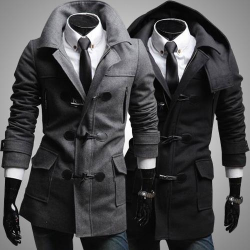 Suited Mens Trench Coat Woolen Winter Mens Overcoat Horn Buttons Lapel Neck Warm Trench For Men With Two Pockets Personalize Trench J160755