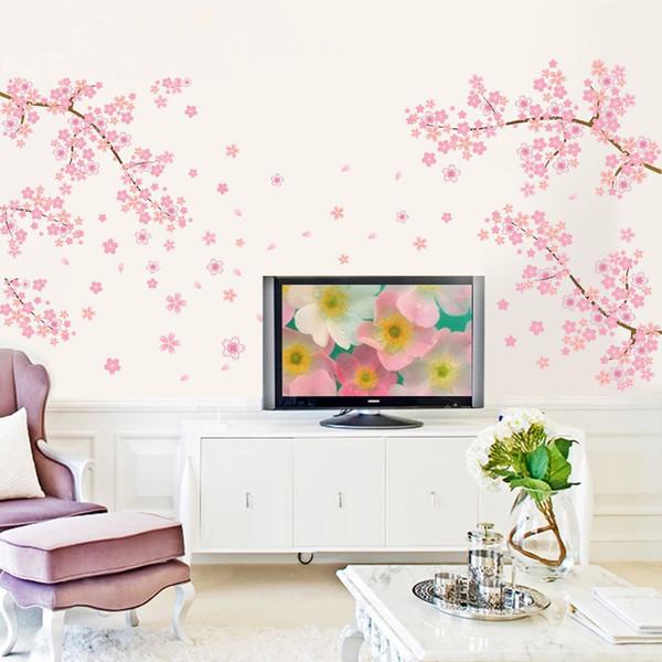 DIY Romantik Pembe Erik Çiçek Ağacı Duvar Sticker Oturma Odası Yatak Odası Duvar Çıkartması TV Kanepe Arka Plan Ev Dekor Duvar Kağıdı