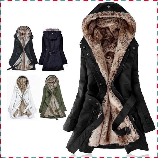 Al por mayor-grueso forro de piel de imitación de piel de las mujeres sudaderas con capucha invierno cálido abrigo de piel larga dentro de la chaqueta de algodón parkas térmicos AA1607