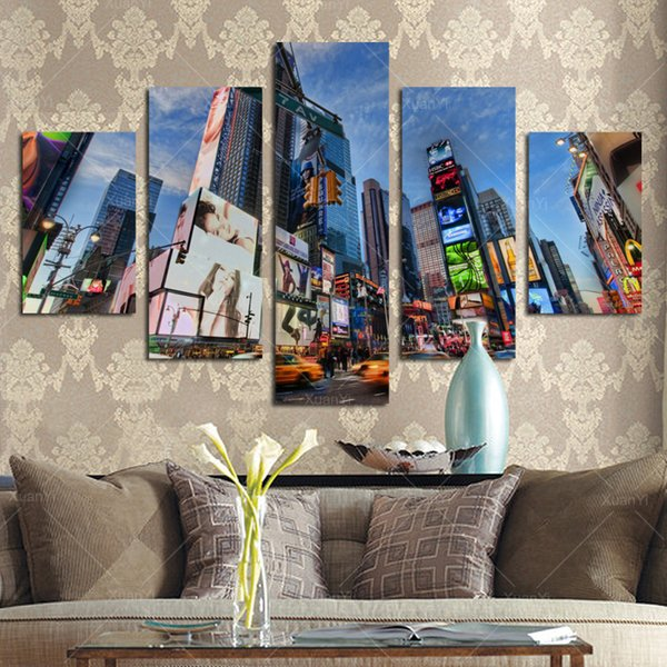 5 Panel Modern Spray Painting New York City Canvas Art Paintings Picture Cuadros Building For Bed Room Unframed
