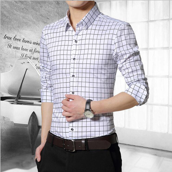 wholesale-2016 new arrive 100% mens dress shirts causal striped plaid shirts men camisa social masculina chemise -5xl cy52, White;black
