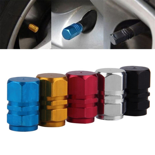 best selling 4pcs lot Colorful Theftproof Aluminum Metal Car Wheel Tire Valves Tyre Stem Air Caps Airtight Cover for Car Moto Bike Bicyle Universal