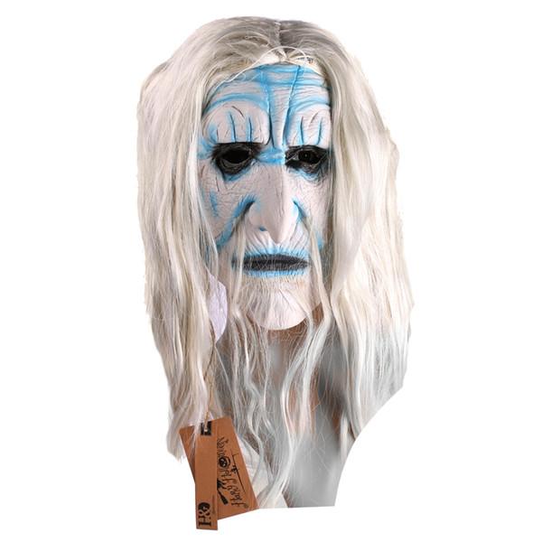 Al por mayor- Pelo largo blanco Cabeza completa Cosplay Scary Fantasma máscara de látex Horror Masquerade Fantasma adulto Máscara de Halloween Props trajes de disfraces