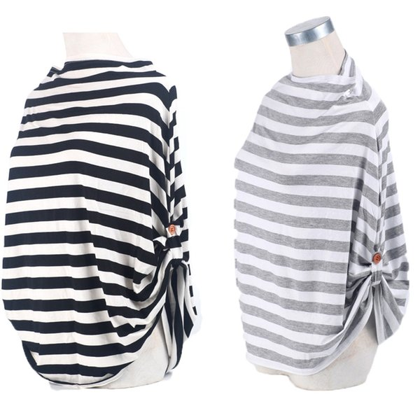 Multi Use Stretchy Baby Nursing Breastfeeding Privacy Cover With Button Scarf Blanket Stripe Car Seat Wholesale 3003196