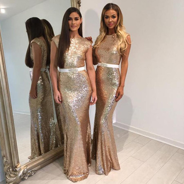2018 New Glitter Rose Gold Sequins Bridesmaid Dresses with Belt Cap Sleeves Mermaid Formal Dress Long Evening Gowns Custom Made