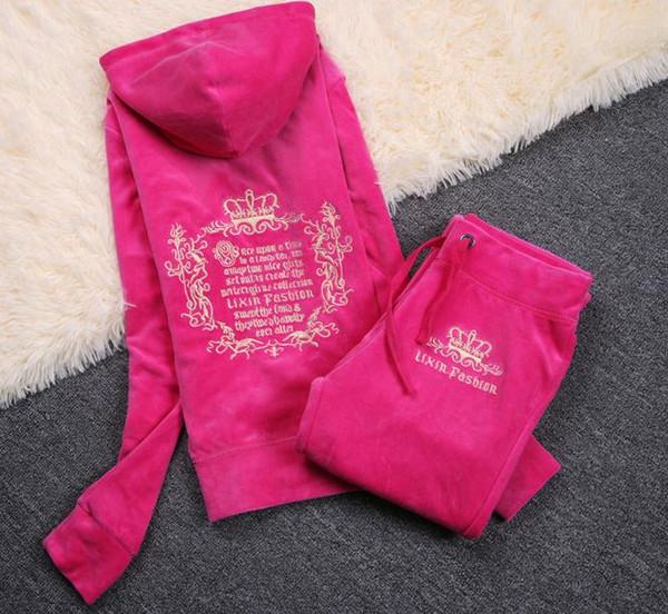 top Plus Size Spring autumn Women Tracksuits Crowne Pattern Embroidery Velvet Sport Suit Women's Clothing moleton feminino Hoodies+pants