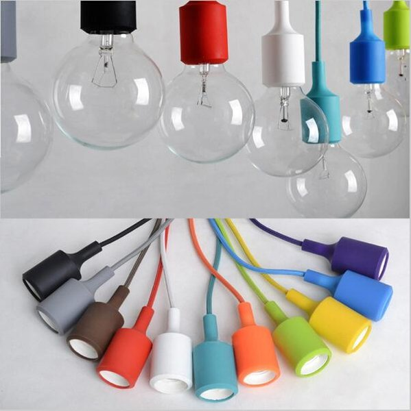 2016 New arrival Colorful LED Pendant Lights 80CM Wire E27 E26 110V 220V Silicone Pendant Light Sconce Lamp Socket Holder Without Bulb vinta