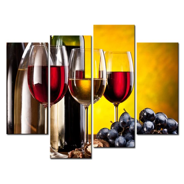 Amosi Art-4 Pieces Grape Wine With Cup Wall Art Painting The Picture Print On Canvas Food Pictures For Home Decoration Gift(Wooden Framed)