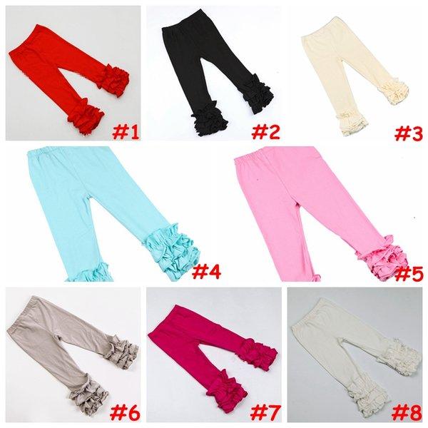top popular 14colors Girls Icing Ruffle Leggings Baby solid color delicate ruffle pants aqua pink Multi-Layer leggings capris 6size 2020