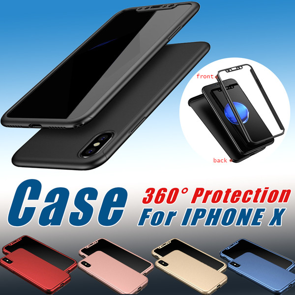 360 Degree Protection Full Cover Case For Iphone X With Tempered Glass Screen protector Hard PC Case For Iphone X 8 Plus 7 6S Samsung S8