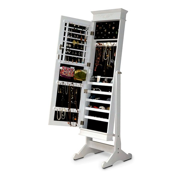 White Jewelry Cabinet Display Wooden Cosmetic Storage Organizer Box With  Mirror Door Free Standing Or Wall