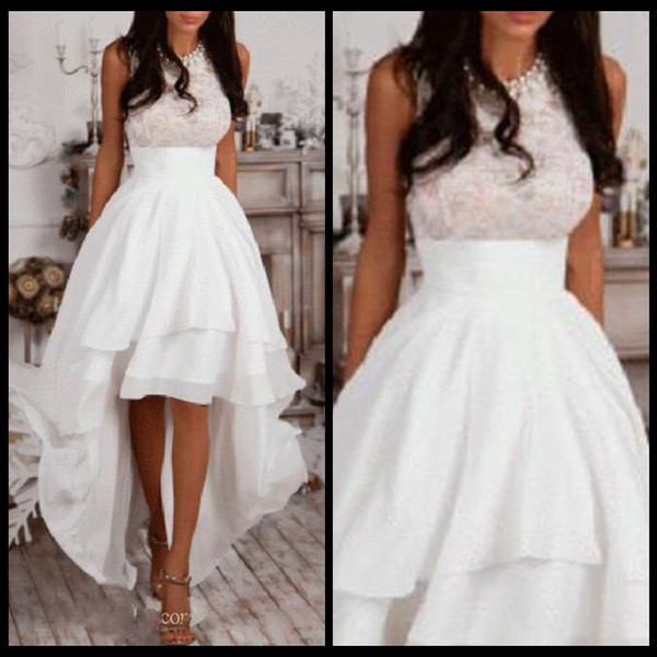 Halter A-Line High Low Prom Dresses Ivory Chiffon Homecoming Dress Cheap Evening Dress Lace Top