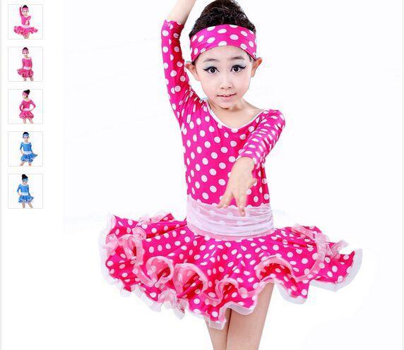 Latin Dance Dress For Girls Dot Rose/Blue Kids Dance Costume Dress&Hair Band Children Latin Dance Dresses Long Sleeve Dancewear