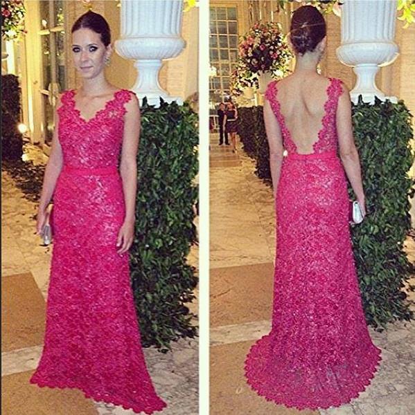 Fuchsia Grace Vestidos de Longo Evening Dresses Custom made Sexy backless V neck Ribbon Lace Formal special occasion dresses for women
