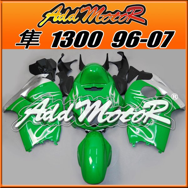 Best Selling Fairings Addmotor Injection Mold Plastic For Suzuki GSXR1300 Hayabusa 96-07 Flames White Green S3617 +5 Free Gifts Best Chioce