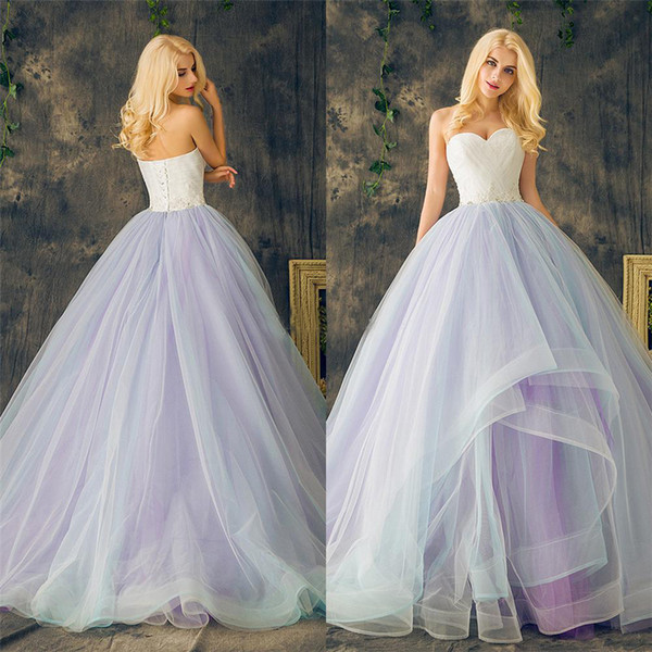 top popular Sweetheart Lace up Ball Gowns Purple Plus Size Multi Color Layers Skirt Wedding Dresses Long Crystal Beading Lace Organza Bridal Dress 2021