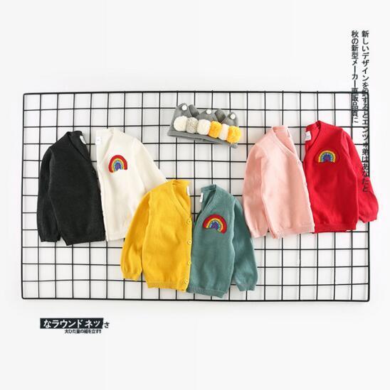 Ins Korean cute style baby girl boy cartoon Rainbow print v-neck long sleeve knitting T shirt 100% cotton kids fall clothing coat 6 colors