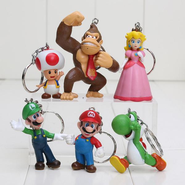 6pcs/set 3-7cm Super Mario Bros Peach Toad Mario Luigi Yoshi Donkey Kong Keychain PVC Action Figure Toys Dolls