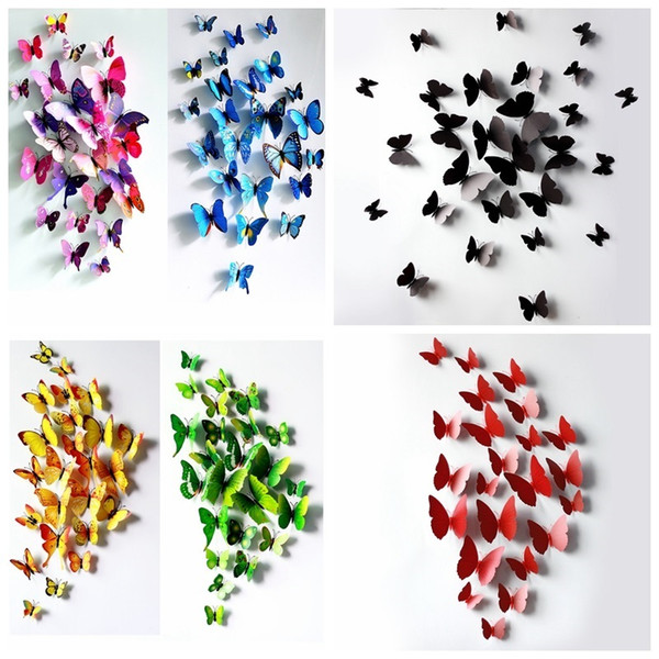 best selling 3D Butterfly Wall Decals Multicolor PVC 3D Wall Stickers For TV walls Kids Bedroom Wall Home Decoration Removable