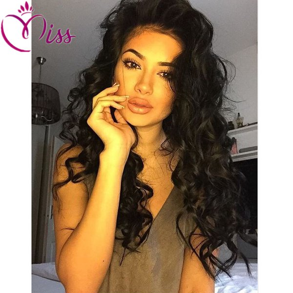 Brazilian virgin human hair wigs body wave full lace human hair wigs for black women 130density middle part lace front hair wig