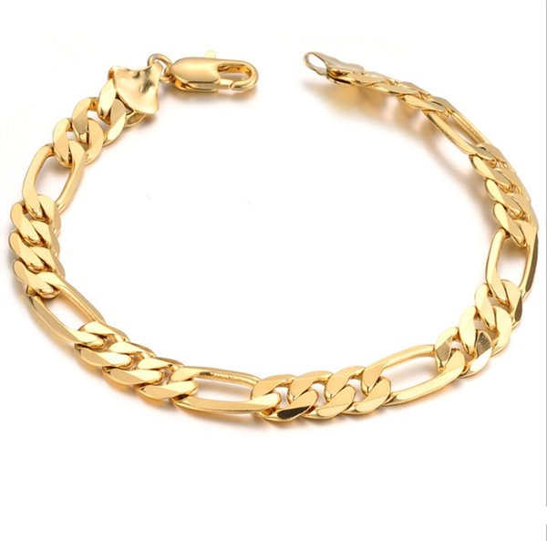 fdc4151da Hot Sell Classic Vintage 18K Real Gold Plated Figaro chain bracelet  Attractive Gold plated Bracelet handmade