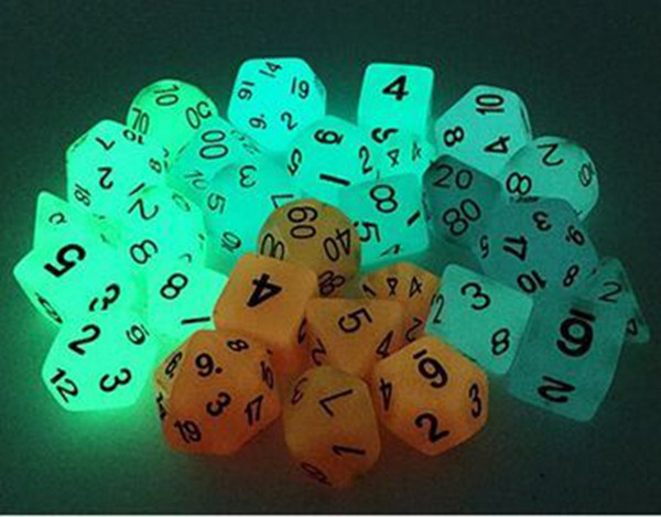 Luminous Polyhedral Dice Set Dungeons And Dragons Glowing Sets Dices D4 D6 D8 D12 D20 D10 (0-9) D10 (00-90) RPG 7pcs/set #D4