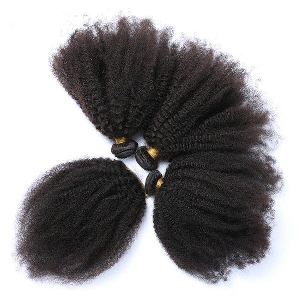Vierge Brésilienne Afro Crépus Bouclés Armure De Cheveux Avec 4 * 4 Dentelle Fermeture 3 Partition 4Pcs Afro Bouclés Vierges Cheveux Avec Dentelle Fermeture 5Pcs / Lot