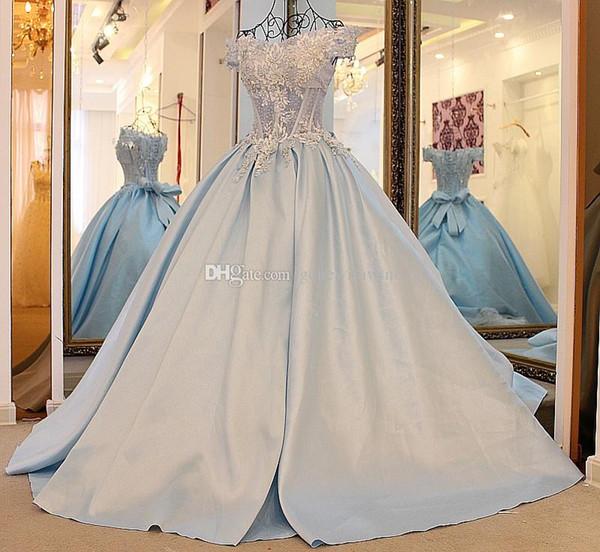Großhandel Echte Fotos Blaue Brautkleider 2018 Arabisch Aus Der ...