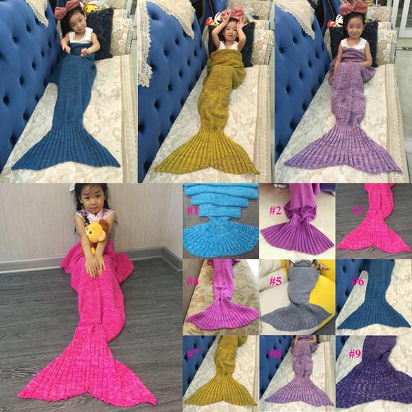 Kids Crochet Mermaid Blankets Handmade Mermaid Blankets Sofa Nap Blankets Children Mermaid Swaddle Mermaid Sleeping Blanket Baby Blanket