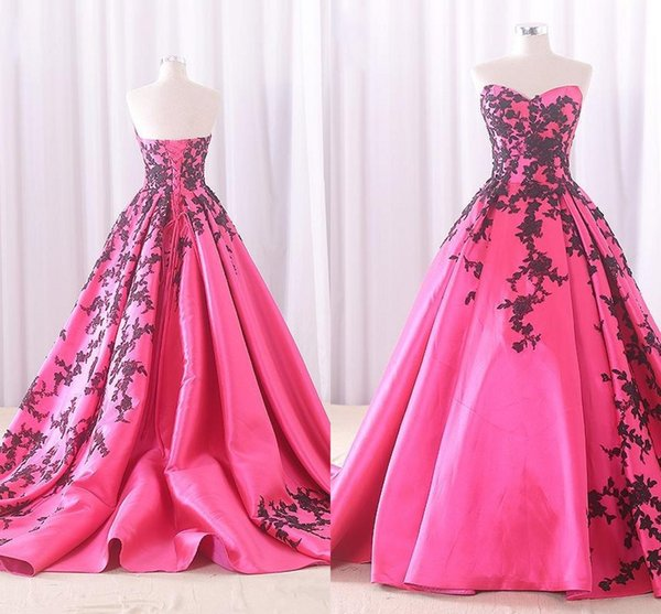 Gothic Long Corset Prom Dresses Sweetheart Fuchsia Satin With Black ...