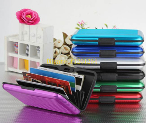 50pcs/lot 2015 New Waterproof Fashion Aluminum Card Holder Package Business ID Credit Card Wallet Case Pocket Purse
