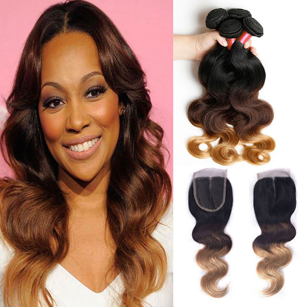 1B/4/27 Brazilian Body Wave Ombre Hair Extensions 6A Cheap Lace Closure With Bundles 4x4''Lace Closure with 4 Hair Bundles