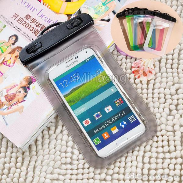 Sacchetto impermeabile della cassa del sacchetto per l'iphone 6s Inoltre Samsung S6 S7 bordo del cellulare prova dell'acqua del telefono cellulare subacquee dei sacchetti dei sacchetti a secco con cordino