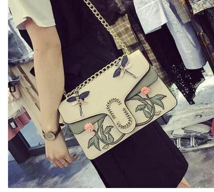 Flower bird Embroidered bag chain crossbody shoulder bags ladies luxury evening party bags famous brand designer leather handbag