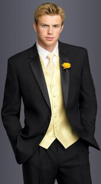 New Arrival black tuxedos for men Wedding Suits For Men 3 pieces groomsmen suits slim fit yellow vest+jacket+pants