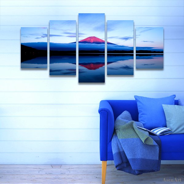 5 Piece Painting Volcano Lake Landscape Painting Canvas Print Modern Home Decoration Wall Art Picture for Living Room Frameless