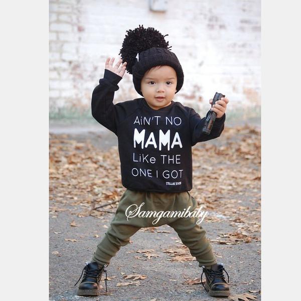 2 pcs Recém-nascido Infantil Do Bebê Meninos Crianças Conjuntos de Roupas de moda bebê Carta Longo T-shirt + Calças Compridas Outfits Conjuntos de alta qualidade frete grátis