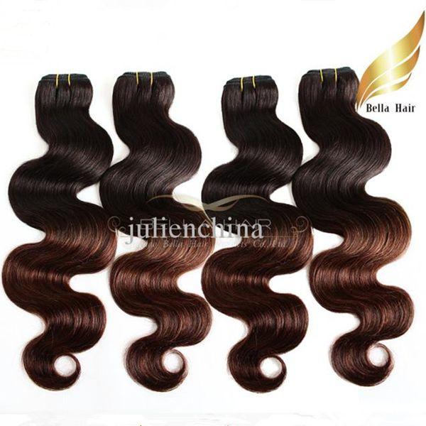 Extensiones brasileñas del pelo de la onda del cuerpo 2 Tono Ombre Weaves T # 1B / # 4 Color del pelo humano teje la trama Dip Dye Ombre Hair Free Shipping Bella Hair
