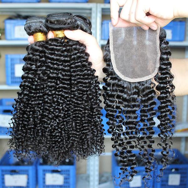 3Pcs Malaysian Hair Weaves With 1Pc Kinky Curly Lace Closure Three Parting Malaysian Human Hair With Top Closure Kinky Curly 4Pcs/Lot
