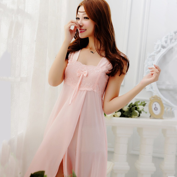 Wholesale-2015 summer style Embroidery sexy spaghetti strap nightgown red solid color sleepwear quality faux silk lounge