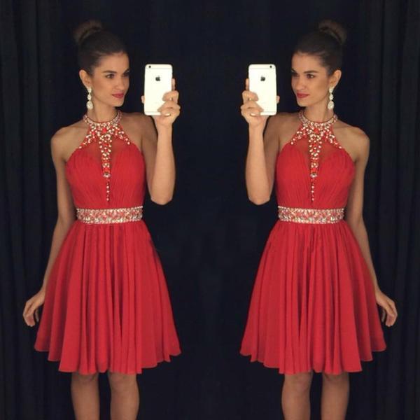 Red Sweet 16 Abiti Homecoming Halter Neck Vestido Formatura Curto Perline Cristalli Pietre Increspate Backless Brevi Prom Dresses