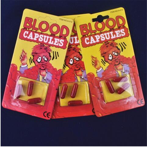 Fashion New Candy Box Costume Fake Blood Pill Capsules Horror Fun Halloween Gag Joke Party Set 3pcs/set New Free
