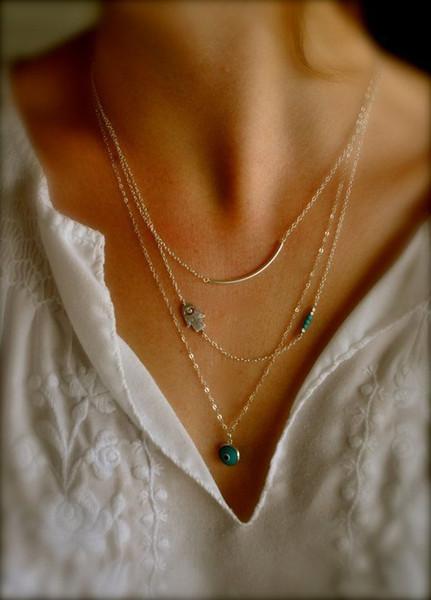 Vintage Boho Hamsa Fatima Hand Evil Eye Bead Turquoise 3 Layers Chain Gold Plated Pendant Necklaces Jewelry bohemian Charm Jewellry Free DHL