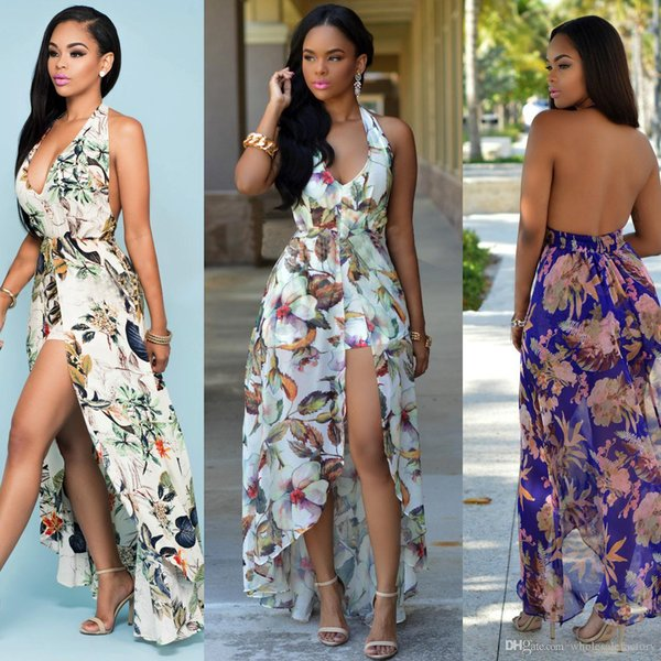 Cheap Plus Size Printed Chiffon Dresses Bohemian Maxi Beach Rompers Long Casual Summer Dresses Halter Neck Sexy Backless Split