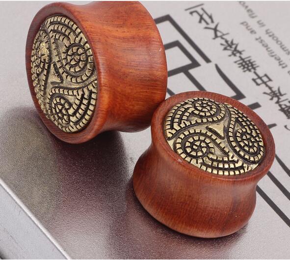 Tapones de madera caliente 2016 nuevos túneles de llegada tapones para los oídos Túneles sólidos de madera de cobre 8mm 10mm 12mm 14mm Yin Yang Tai Chi joyería del cuerpo