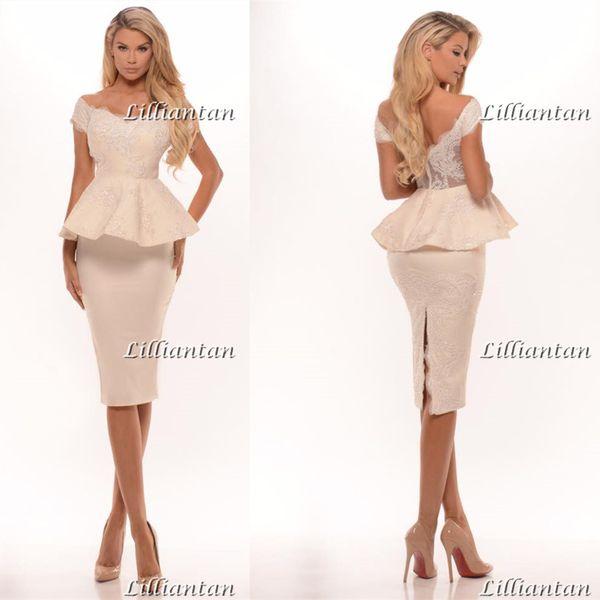 Longitud de la rodilla elegante Split vestidos de noche Apliques Formal Celebrity Dresses Satin Lace vestidos de noche fuera del hombro vestido de fiesta corto vestidos