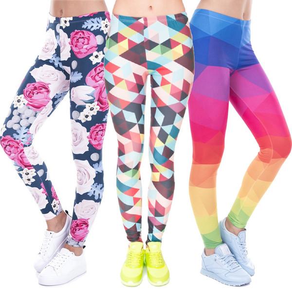 Women Sport Sex Pants 3D Colorful Full Print Hot Girl Capris Elastic Tight fitting Pants Slim Fitness Pencil Trousers PWDK8 WR