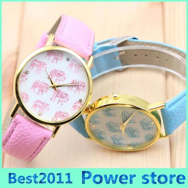 free shipping cute small elephant pattern leather watch cute and fresh style soft quartz watch best gift watch
