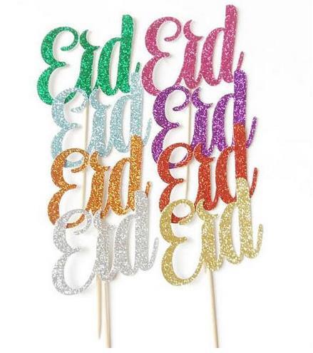 Personalizado 30 pcs projeto GLITTER Eid Mubarak cupcake toppers casamento chuveiro do bebê decorações de aniversário comida picaretas fontes do partido Evento Festivo